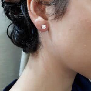 18ct White Gold Diamond Cluster Stud Earrings