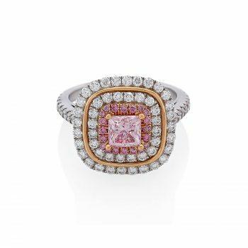 18ct rose & white gold pink diamond engagement ring