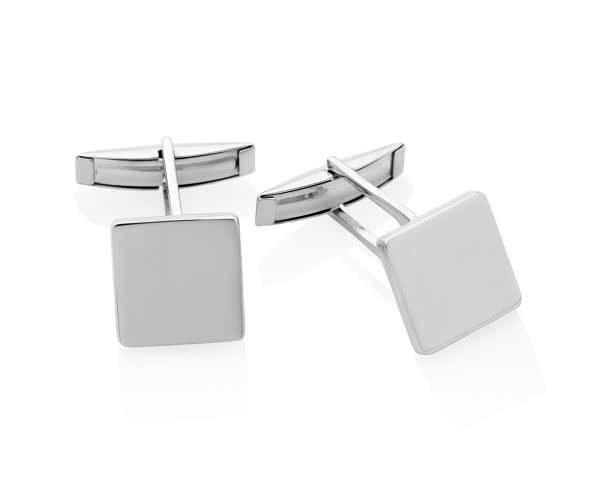 Silver Square Shape Plain Polished Cufflinks