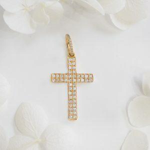 18ct gold round brilliant cut diamonds cross