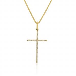 18ct yellow gold round brilliant cut diamond cross