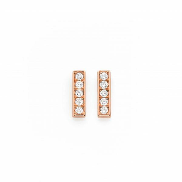 18ct rose gold diamond bar stud earrings
