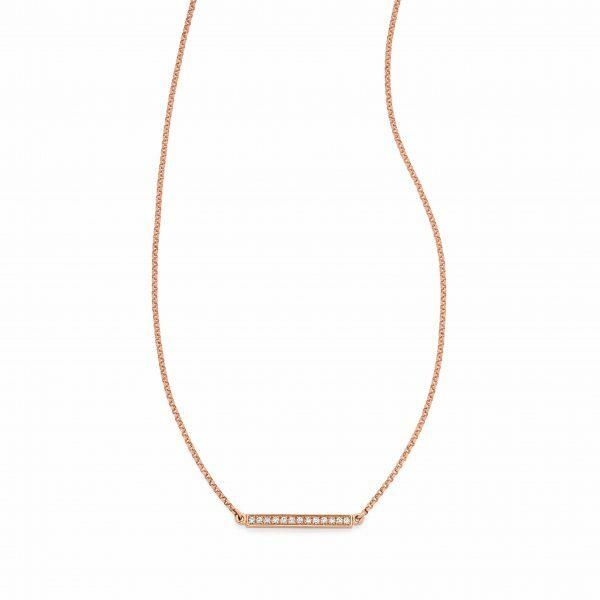 18ct rose gold diamond bar necklace