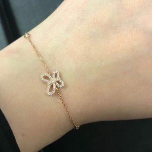 18ct rose gold diamond butterfly bracelet