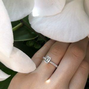 18ct white gold 0.71ct G SI1 emerald cut diamond ring