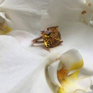 18ct rose gold 16.74ct cushion cut citrine and diamond ring