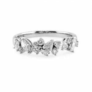 18ct white gold princess, baguette, pear, marquise & round brilliant cut diamonds ring