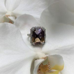 18ct white gold 10.41ct emerald cut ametrine and diamond ring