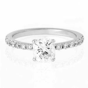 18ct white gold 0.70ct D VS1 cushion cut diamond ring