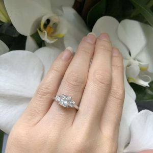 18ct white gold cushion cut three stone diamond ring