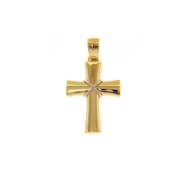 18ct yellow and white gold crucifix pendant