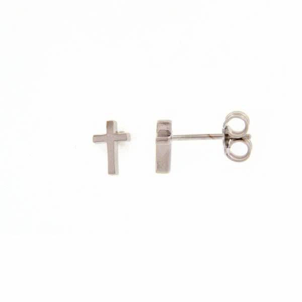 18ct white gold cross earrings