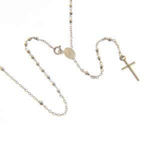18ct white gold mini rosary beads