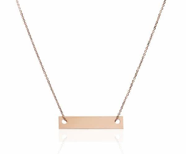 18ct rose gold bar shape necklace