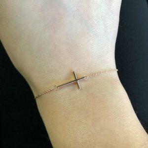 18ct rose gold cross bracelet