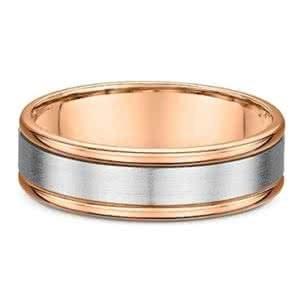 18ct white & Rose Gold satin finish and polished wedding ring
