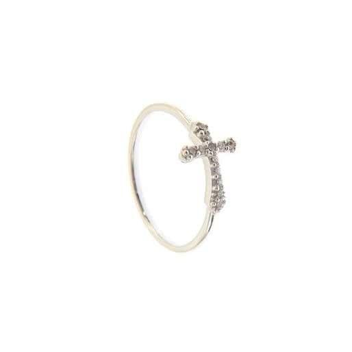 18ct white gold zirconia cross ring