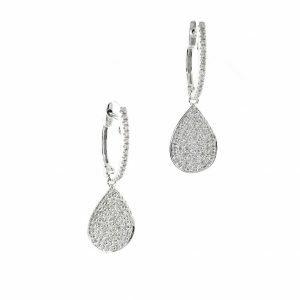 18ct white gold pave diamond tear drop earrings. Australia's most awarded jeweller.