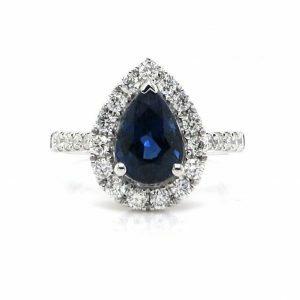 18ct white gold 2.03ct pear shape ceylon sapphire & diamond ring