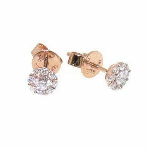 18ct rose gold diamond cluster set stud earrings