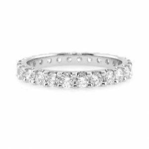 18ct white gold diamond claw set band