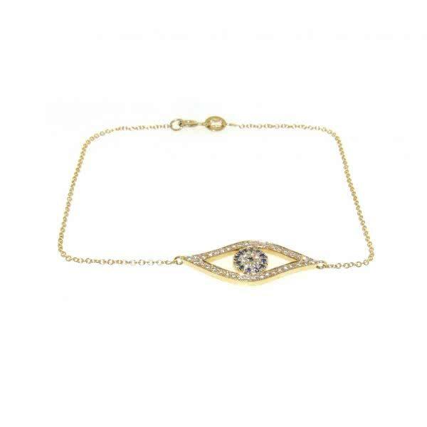 18ct yellow gold diamond and blue sapphire evil eye bracelet