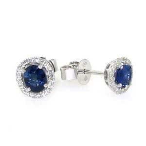 18ct white gold oval sapphire & diamond stud earrings