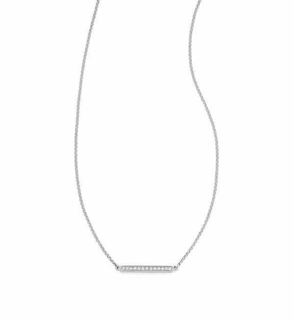 18ct white gold diamond bar necklace