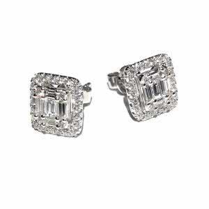 18ct white gold baguette & diamond halo stud earrings