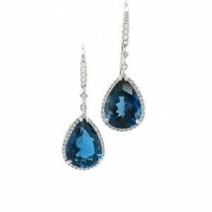 18ct white gold London blue topaz and diamond drop earrings