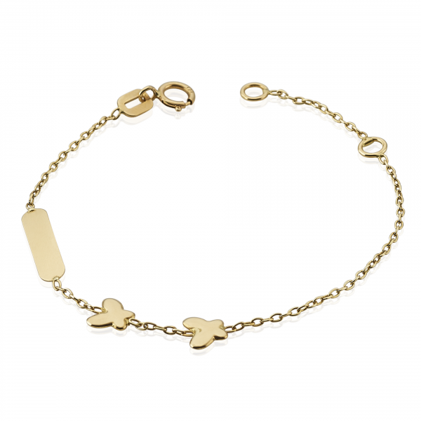 18ct yellow gold butterfly ID baby bracelet