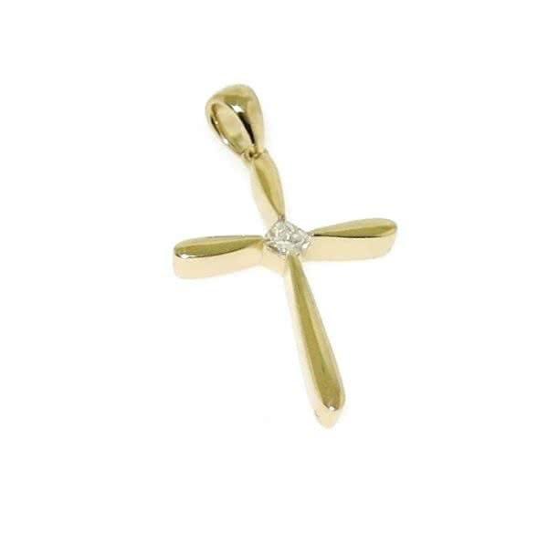 18ct yellow gold diamond set cross