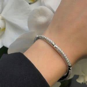 18ct White Gold Pave Stiff Ladies Bracelet