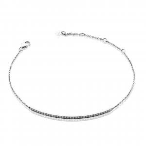 18ct white gold diamond set bar bracelet