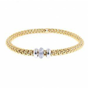 18ct yellow and white gold diamond bangle