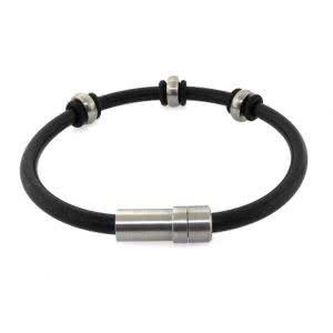 Stainless steel Men's rubber bracelet