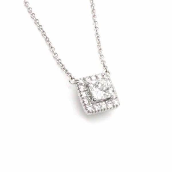 18ct white gold princess cut diamond necklace