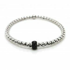 18ct white gold mesh diamond bangle