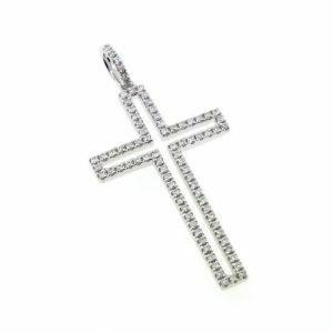 18ct white gold diamond cross