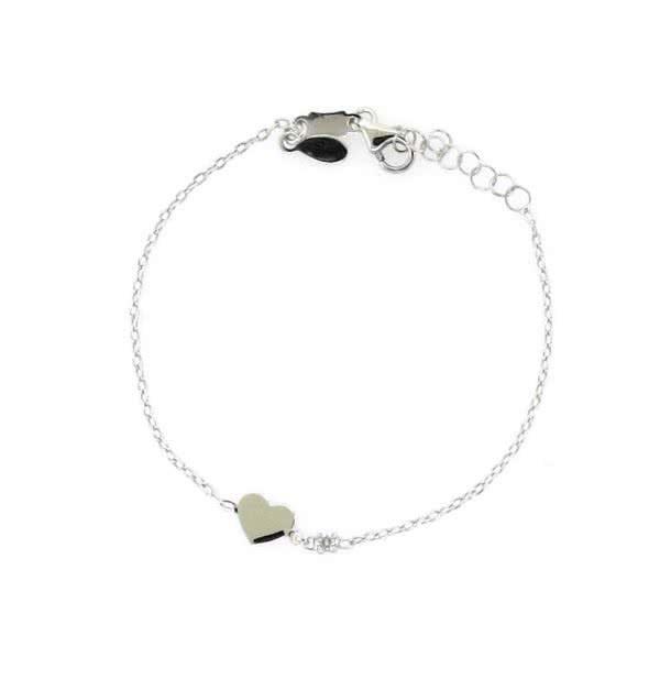 18ct white gold diamond heart bracelet