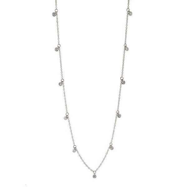 18ct white gold adjustable diamond necklace