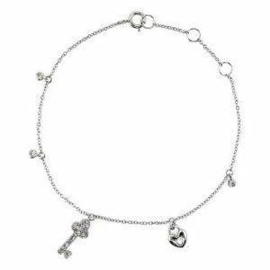 18ct white gold key and heart shaped diamond bracelet