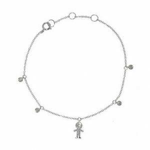18ct white gold adjustable diamond figure bracelet
