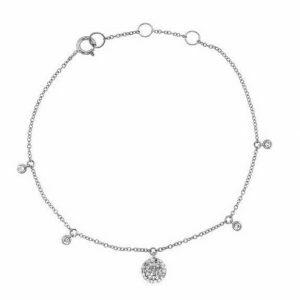 18ct white gold diamond round bracelet
