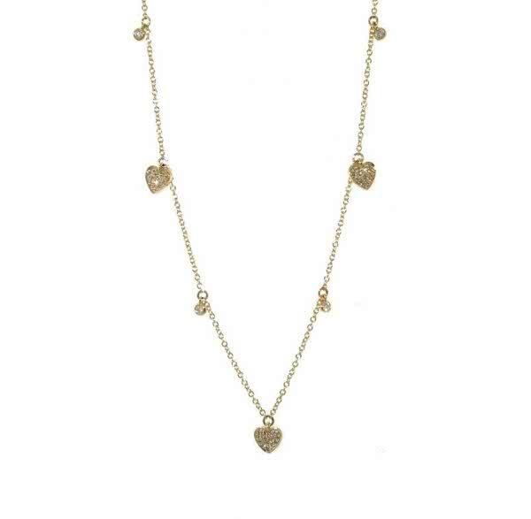 18ct yellow gold adjustable diamond heart necklace
