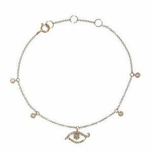 18ct rose gold diamond evil eye bracelet