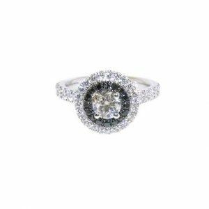 18ct white gold 0.50ct E SI1 round diamond ring with black diamond halo