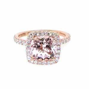 18ct rose gold cushion cut morganite and diamond ring