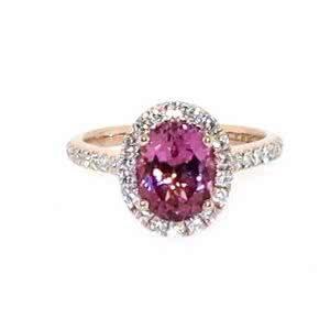 18ct rose gold oval pink tourmaline & diamond ring