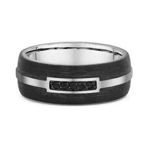 18ct white gold carbon fiber & black diamond mens ring